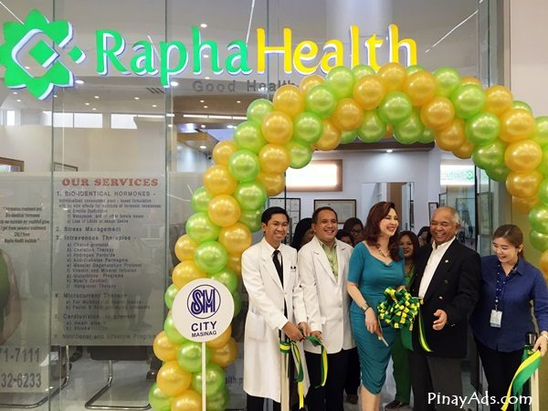 Ribbon Cutting ceremony with Ms. Cory Quirino, Rapha Health owner Dr. Cris Enriquez, and with the staff of Rapha Health Masinag