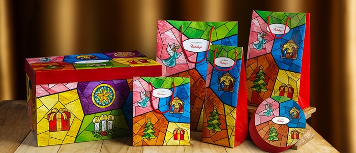 Customize your presents and bring light to loved ones with Healthy Option's beautiful stained glass inspired gift packaging.