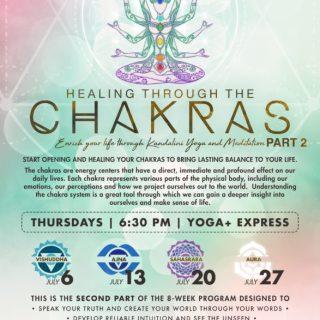 Healing through Chakras Four-week Yoga Series in July at Yoga+Express