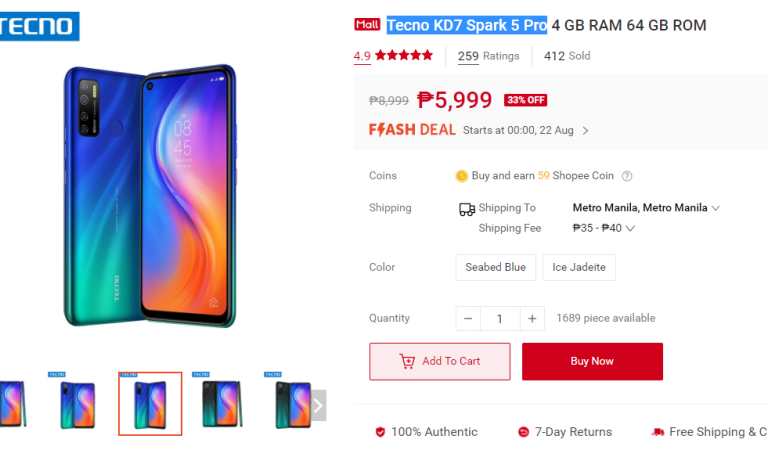 Tecno Spark 5 Pro available at 33% off in Shopee