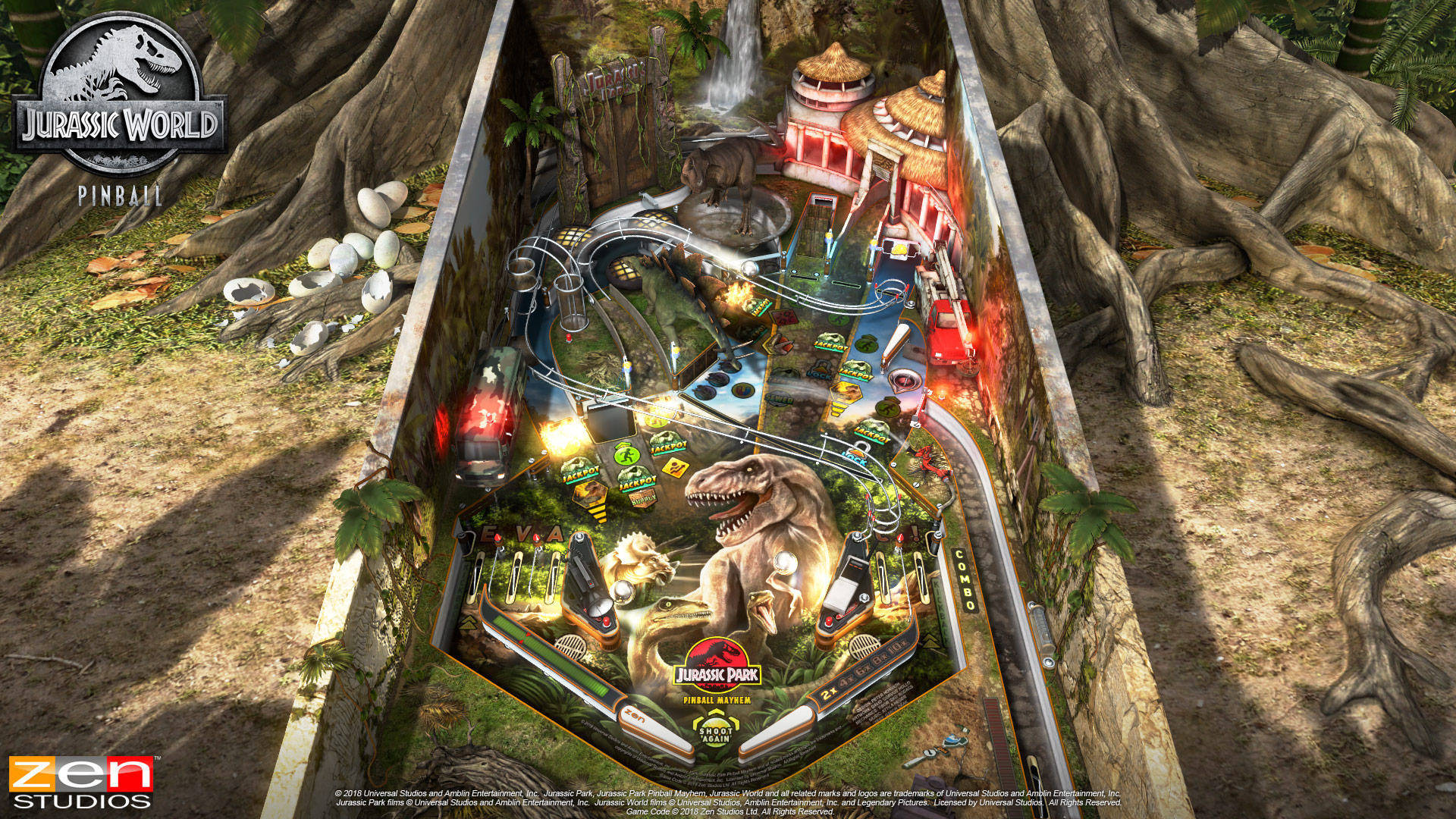 kitchen funnel small table ideas zen studios welcomes pinball players to jurassic world ...