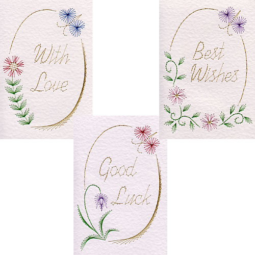 Oval greetings stitching patterns added at Pinbroidery