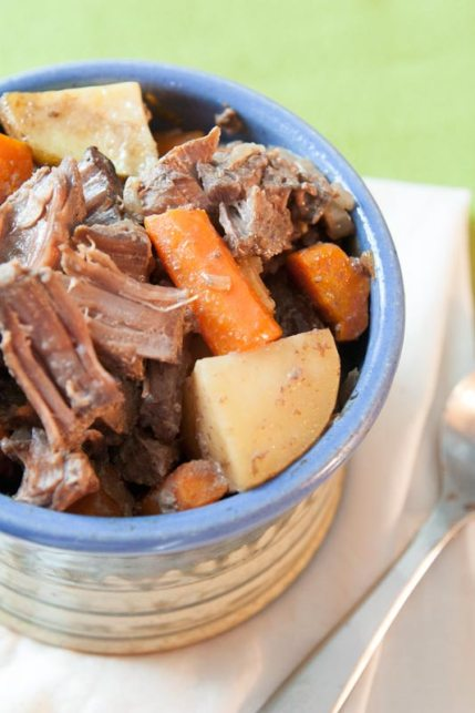 Nothing is as comforting as this flavorful, fork-tender oven pot roast. Best of all, this is ready for the oven in only 15 minutes, and uses simple ingredients you probably have in your pantry!   www.pinchmeimeating.com