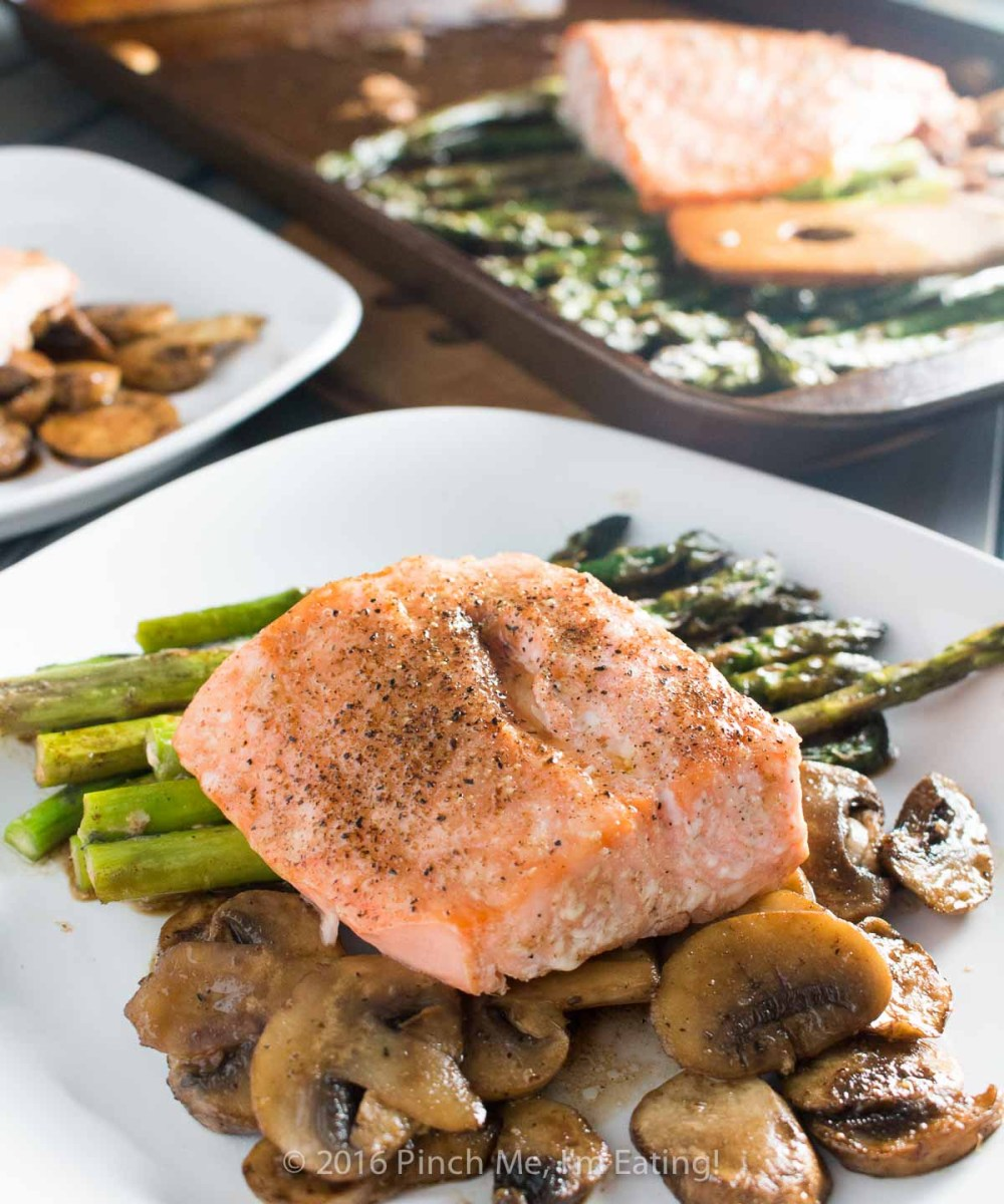 One-pan Salmon with Asparagus, Mushrooms, and Balsamic Brown Butter Sauce