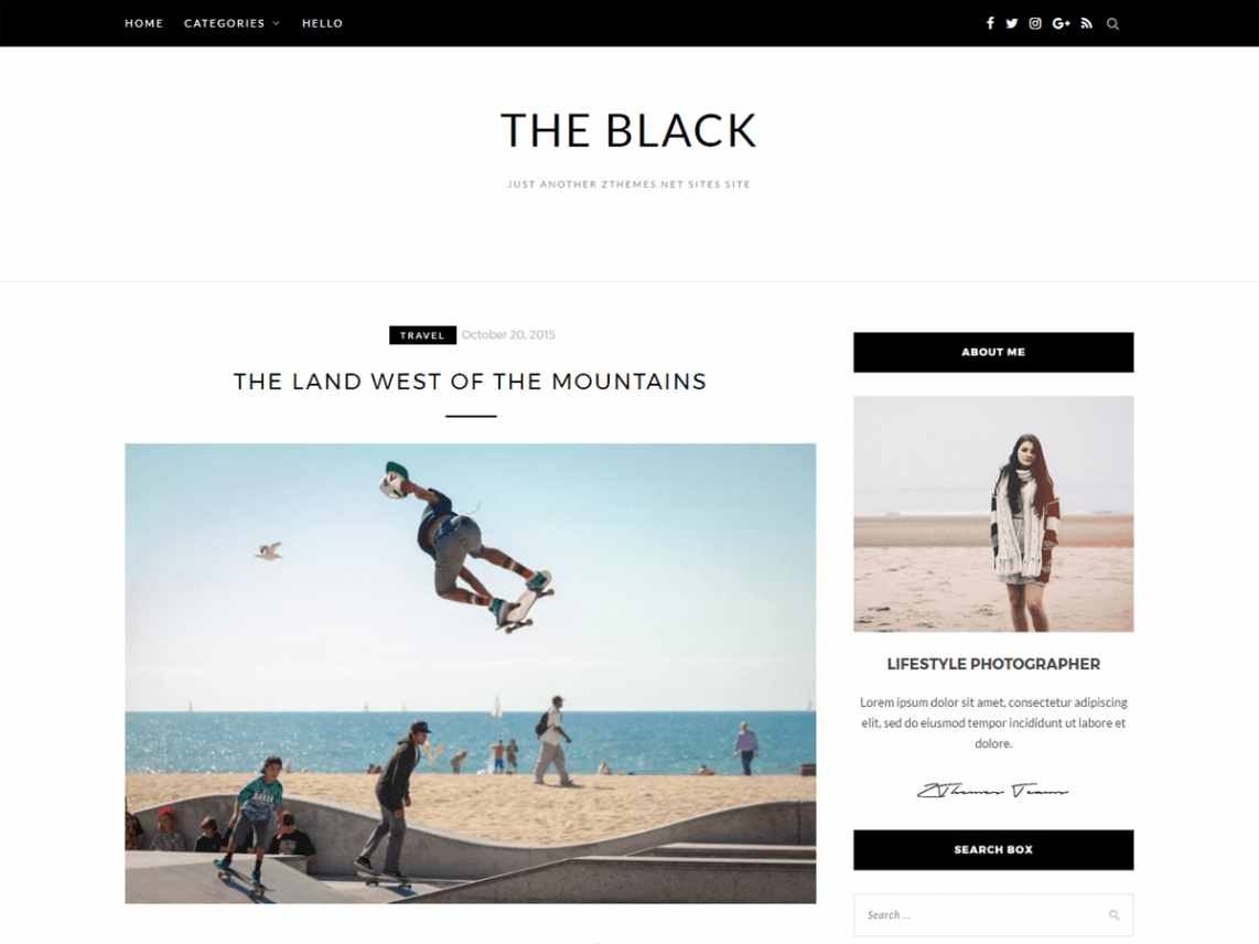 BlackLite - free WordPress theme