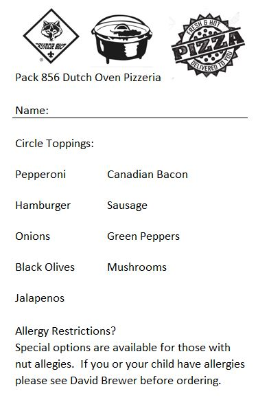 pizza order form
