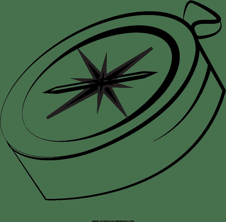Kompass Ausmalbilder - Line Art Clipart - Full Size