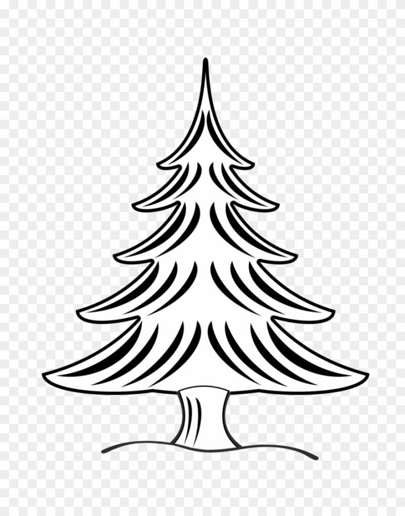 Christmas Tree Vector Art Black