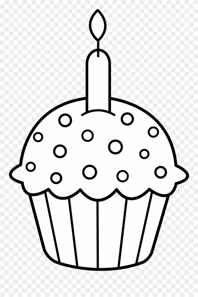 Clip Art, Free And - Birthday Cupcake Coloring Pages - Png
