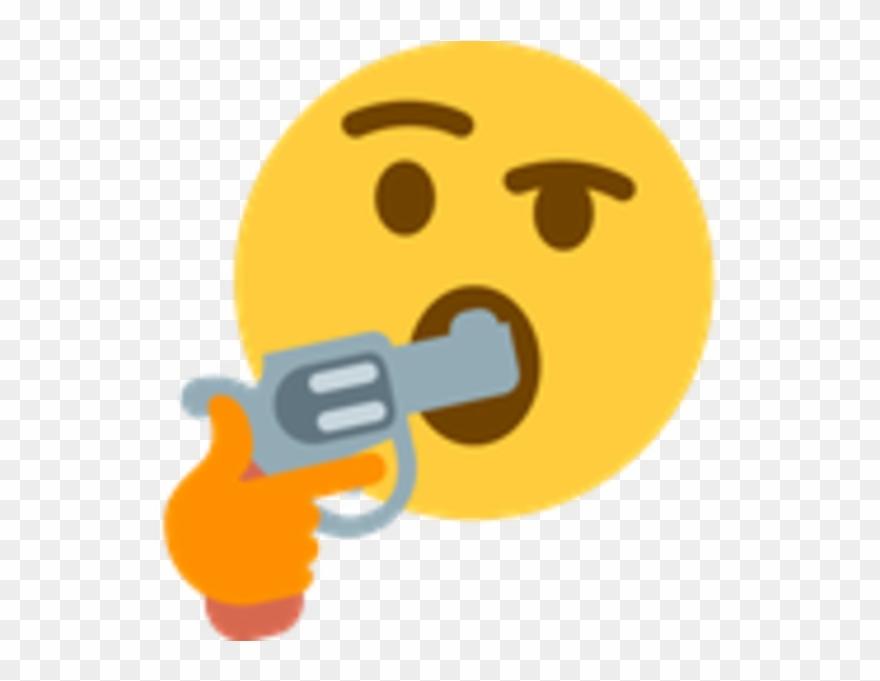 thinking emoji gun in
