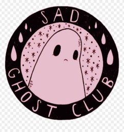 sad ghost cute aesthetic girly scary grunge pink black sad ghost club logo clipart [ 880 x 920 Pixel ]