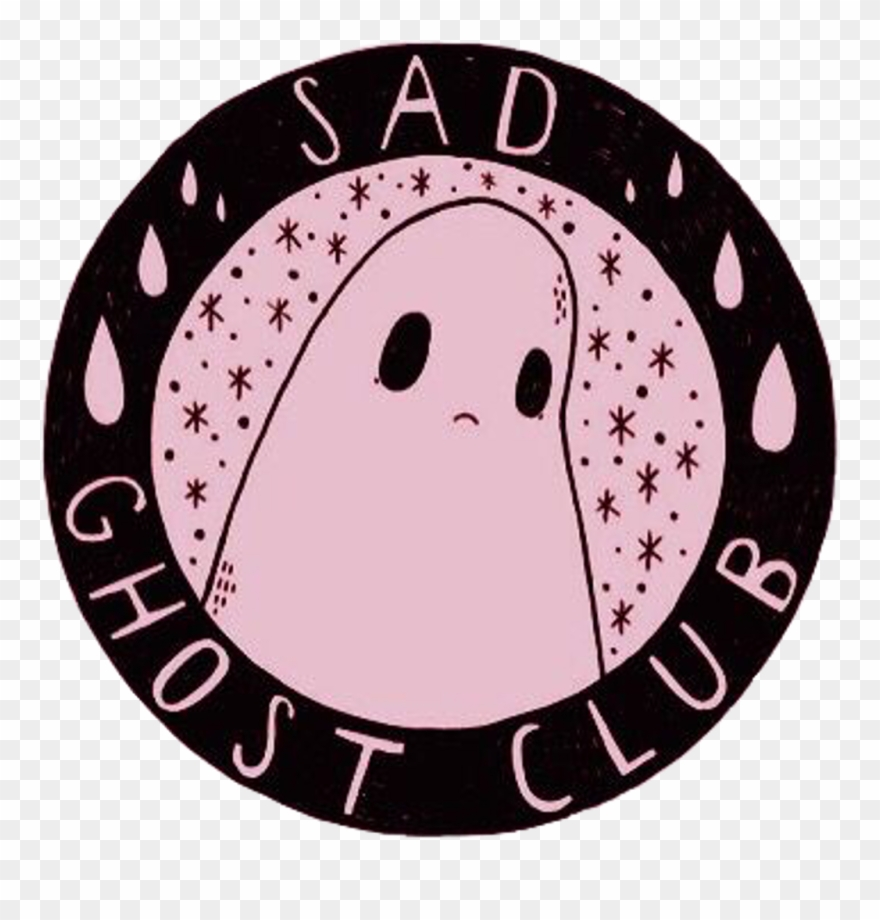 hight resolution of sad ghost cute aesthetic girly scary grunge pink black sad ghost club logo clipart