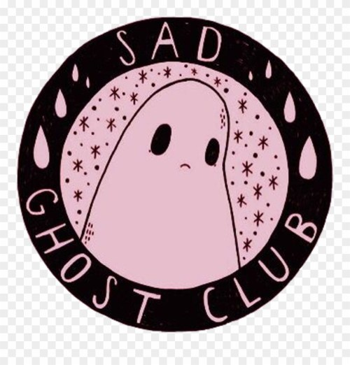 small resolution of sad ghost cute aesthetic girly scary grunge pink black sad ghost club logo clipart