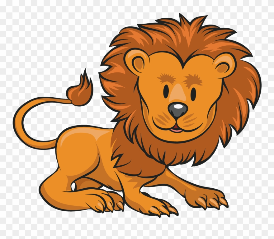 Lion Cartoon Clip Art  Gambar Kartun Hewan Singa  Png