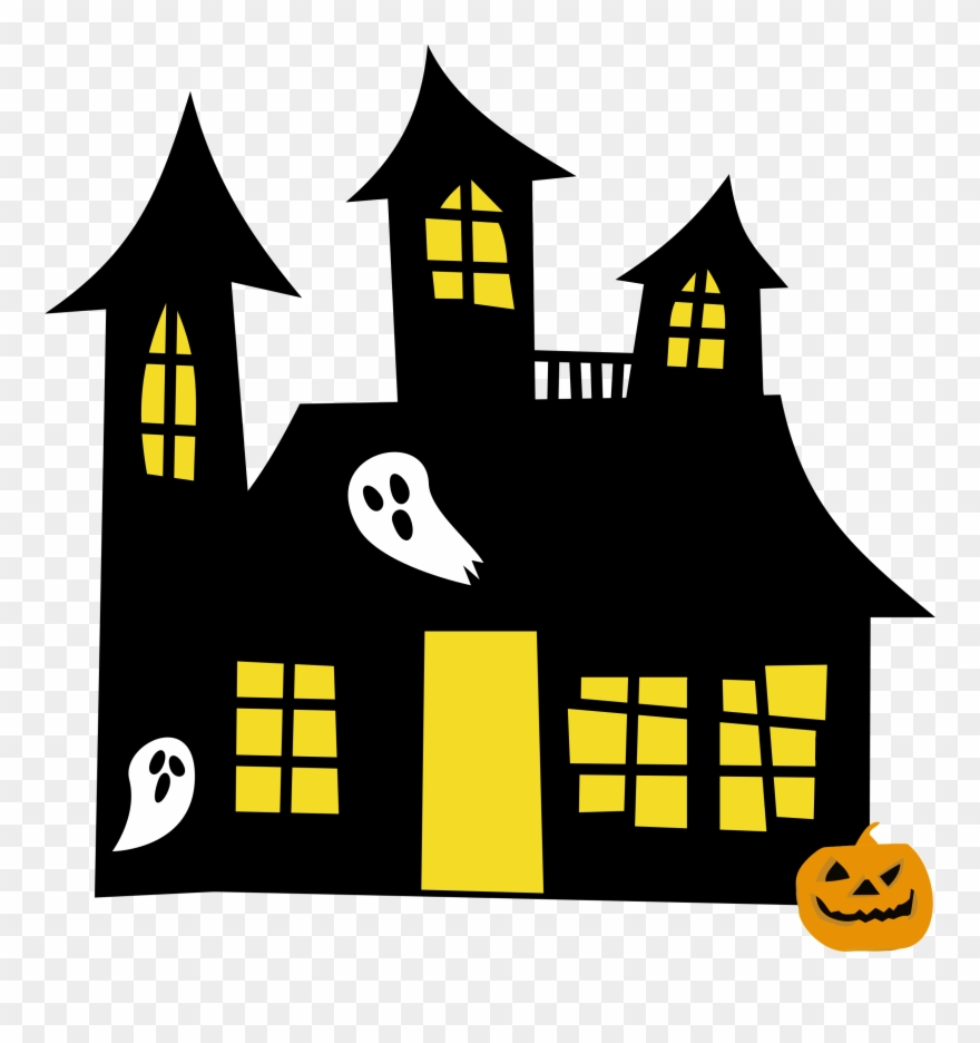 medium resolution of hauntedhouse yellowwindows clipart of spooky halloween haunted house clipart png download
