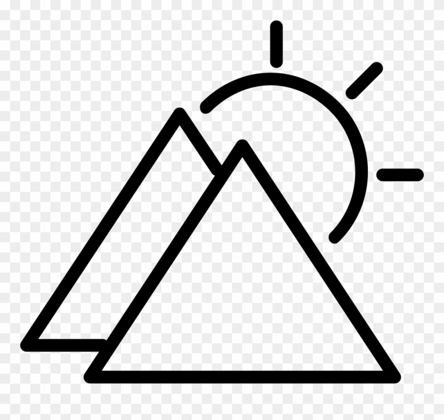 Sunny Day Symbol Outline With Triangular Mountains Clipart