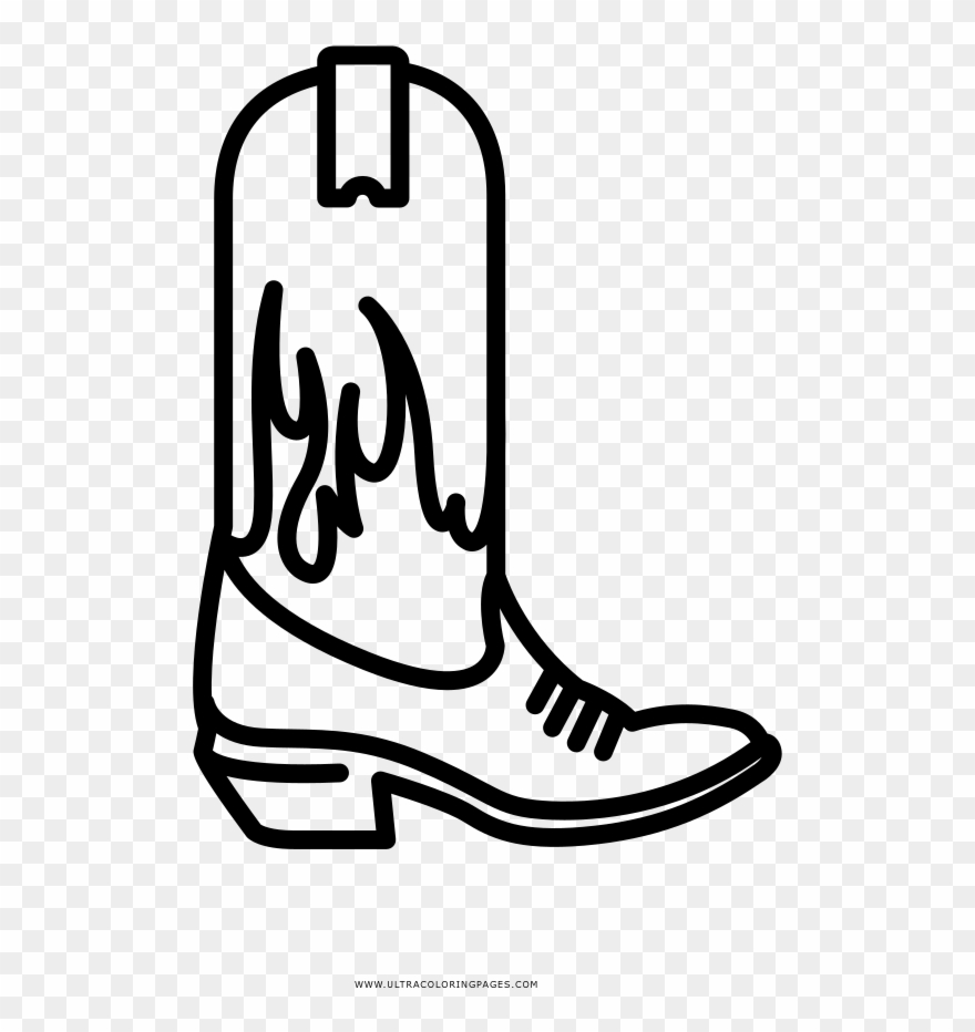 hight resolution of cowboy boot coloring page clipart