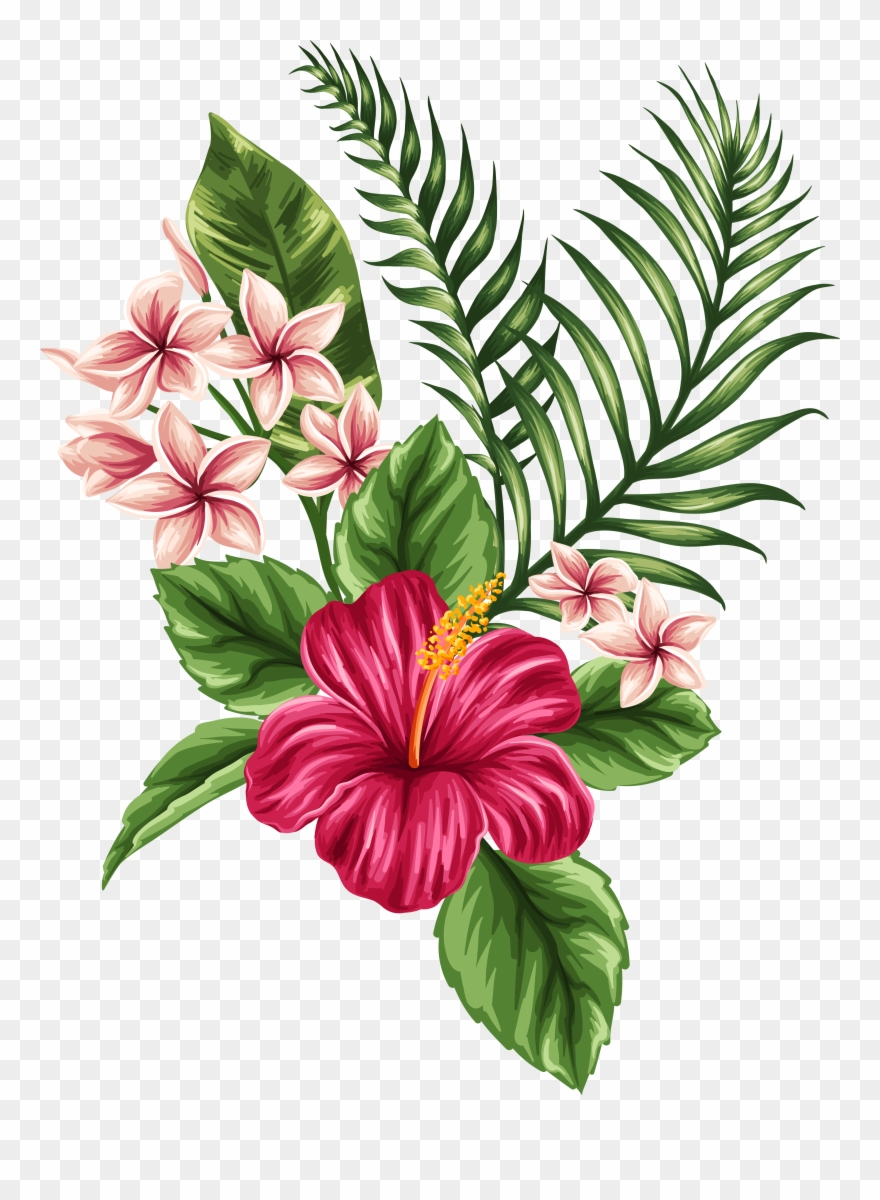 hight resolution of svg transparent tropical watercolor flowers leaves tropical flower tattoo clipart