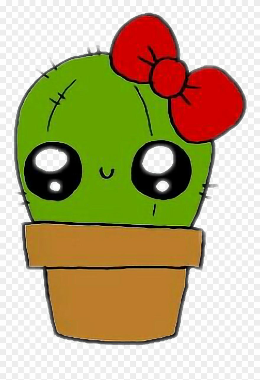 Kaktus Sticker Kawaii Cute Easy Drawings Clipart 3430287 Pinclipart