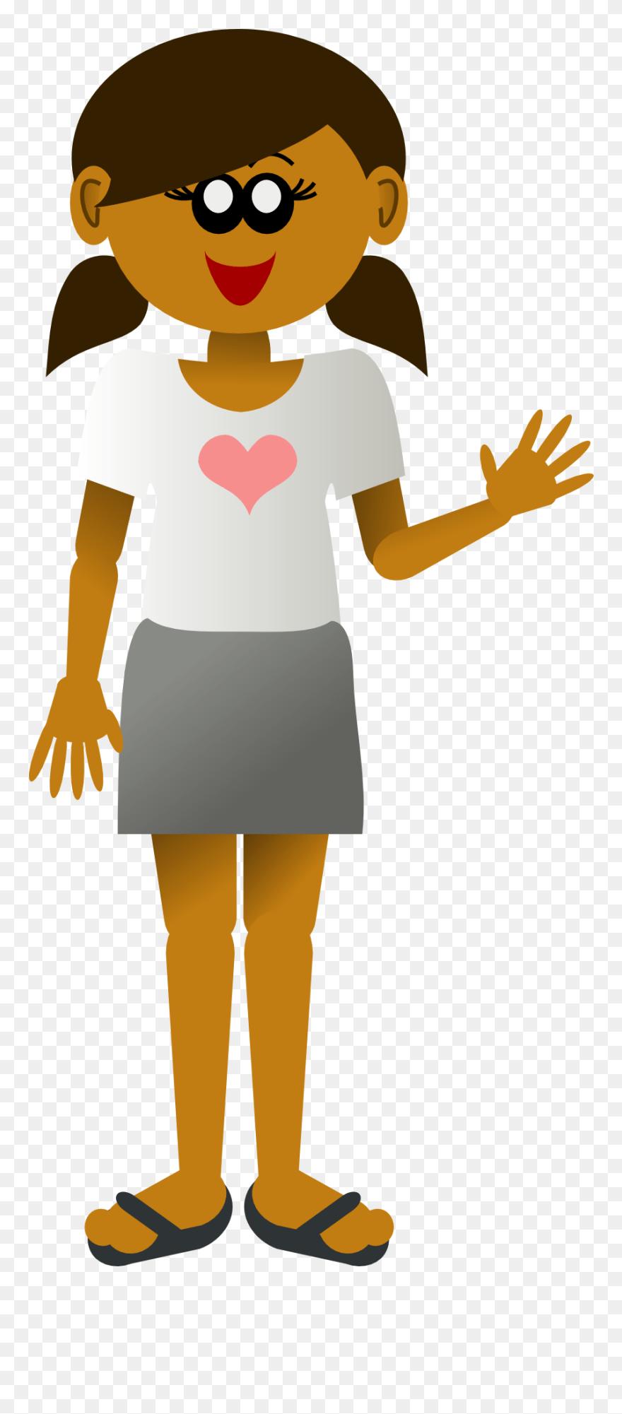 medium resolution of cartoon girl waving png clipart