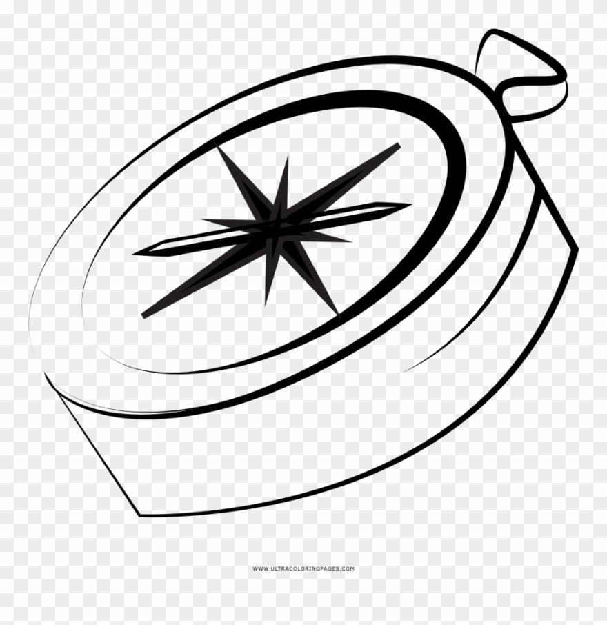Kompass Ausmalbilder - Line Art Clipart (#4017118