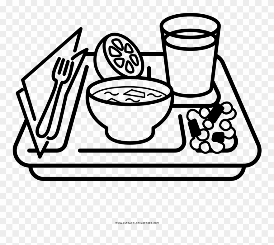 Food Tray Coloring Page Food Tray Clipart Black And White Png Download 4028757 Pinclipart
