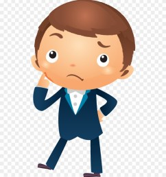 cartoon businessman thinking with hand pointing near boy thinking cartoon png clipart [ 880 x 1024 Pixel ]