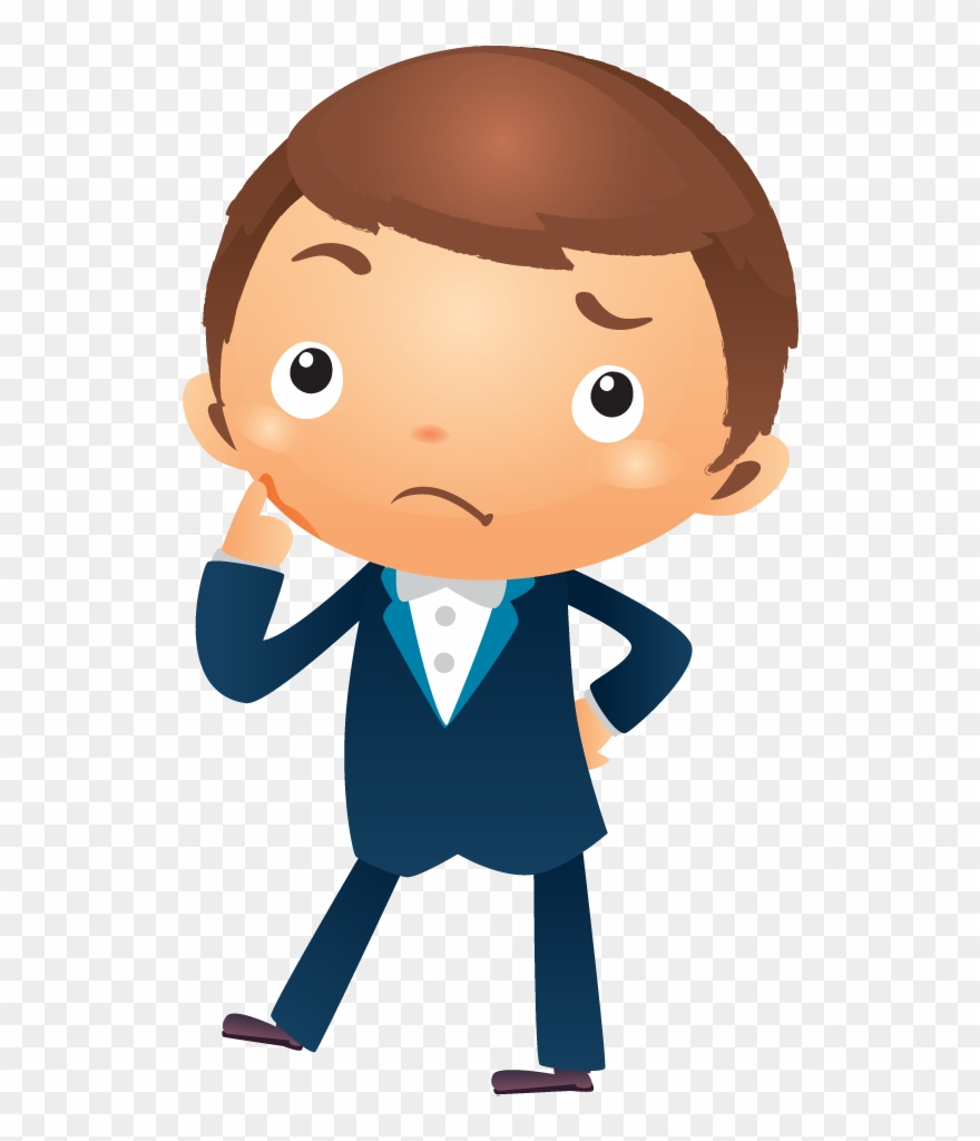 hight resolution of cartoon businessman thinking with hand pointing near boy thinking cartoon png clipart