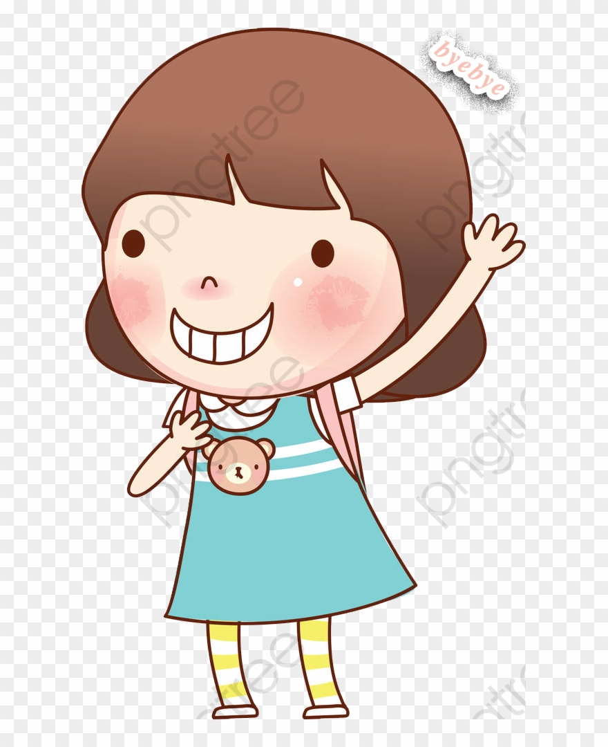 hight resolution of goodbye clipart girl waving good bye cartoon png download