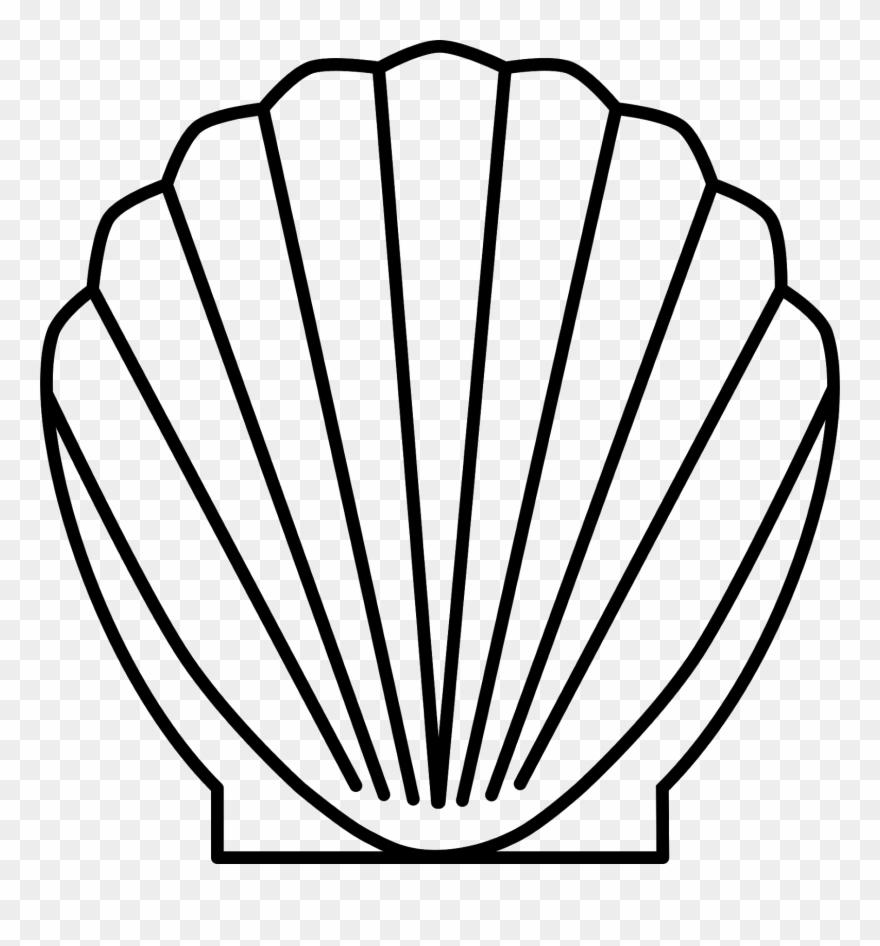 outline mermaid shells clipart