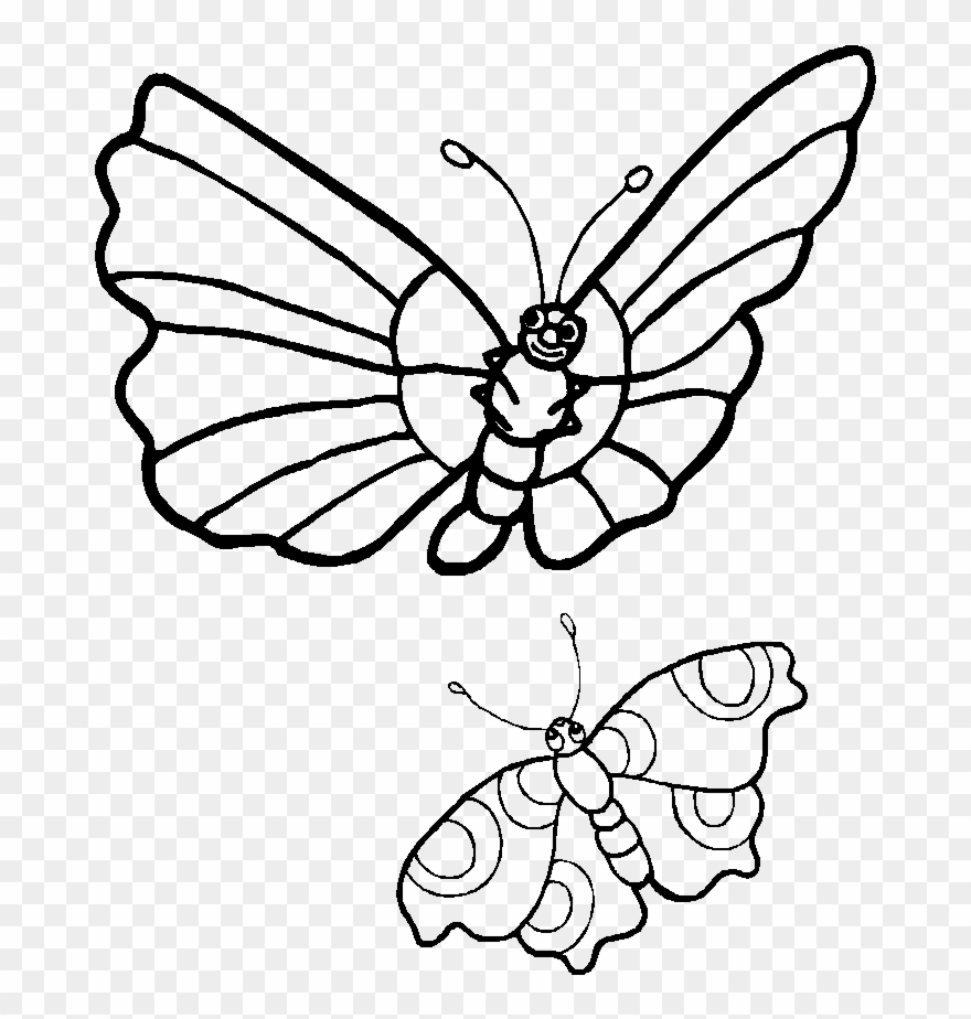 hight resolution of coloring pages caterpillars cartoon two butterflies clipart black and white png download
