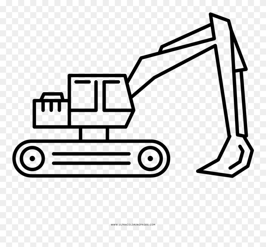 Excavator Coloring Page White Excavator Icon Clipart 5665556 Pinclipart