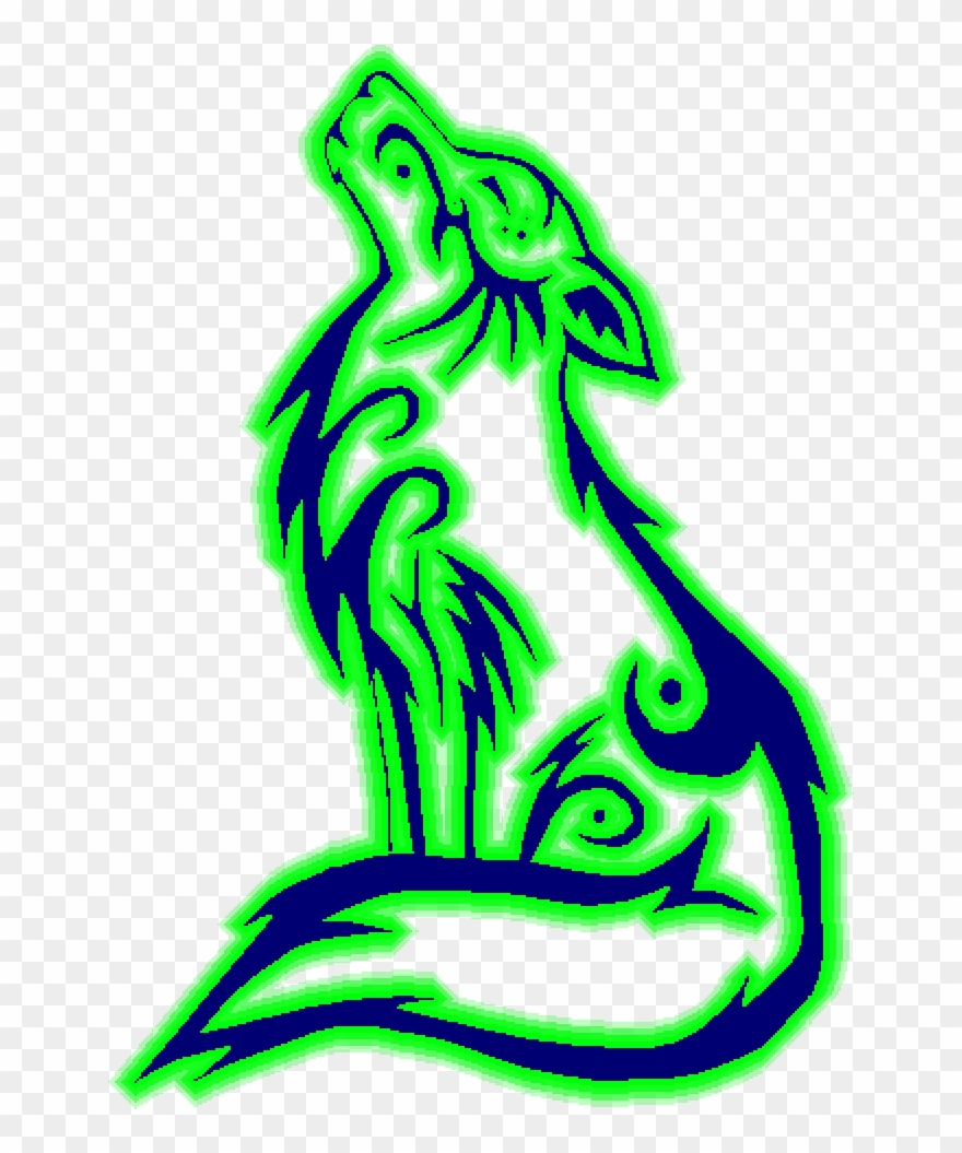 Glowing Wolf Howling Wolf Coloring Page Clipart 682696 Pinclipart