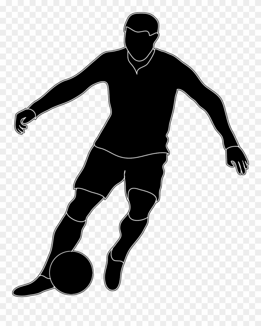 hight resolution of soccer football players clipart black and white png download