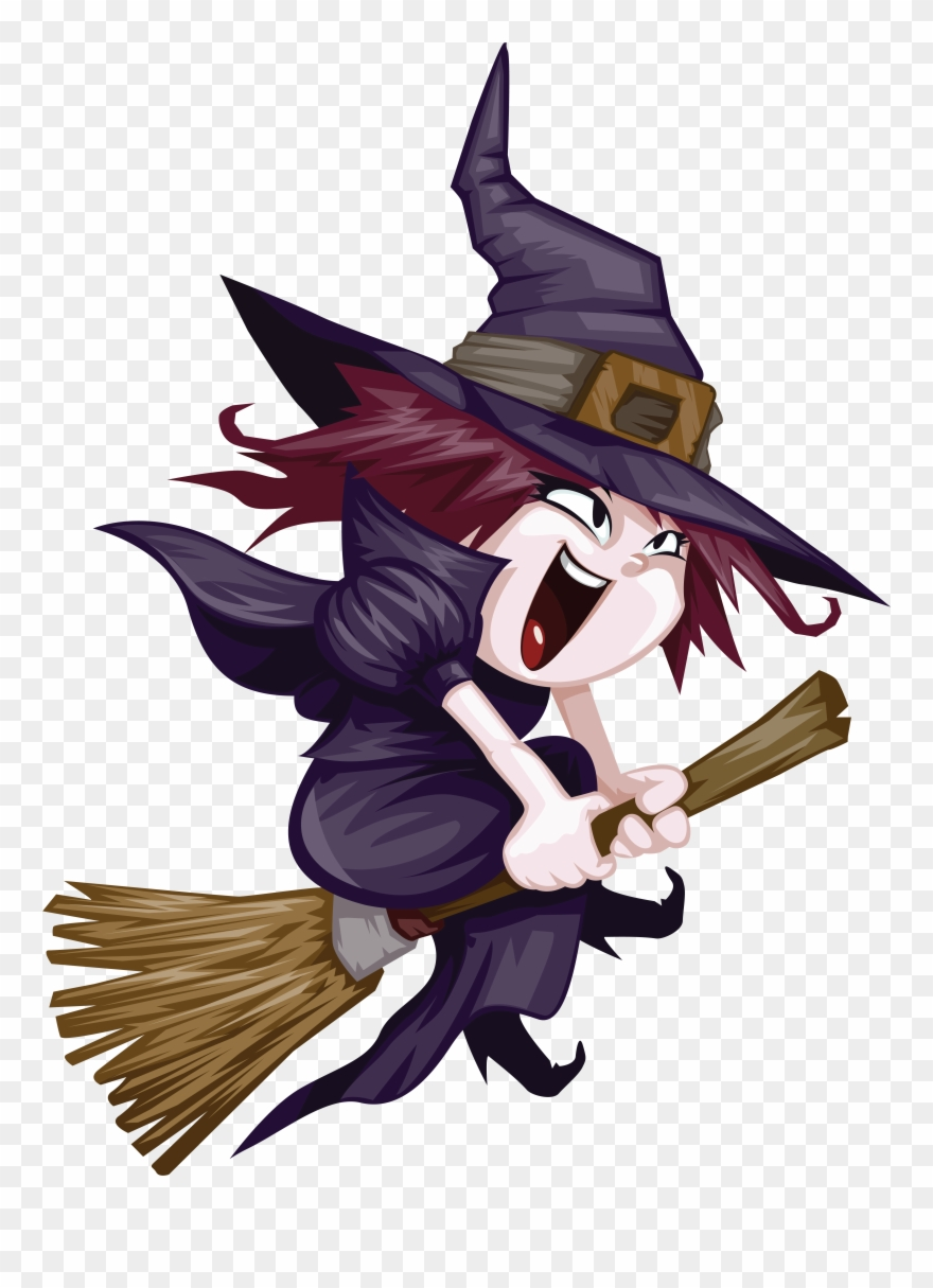 hight resolution of witchcraft clipart nice cute witch riding broom png download