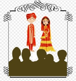 arranged marriages wedding bride and groom cartoon india clipart [ 880 x 1045 Pixel ]