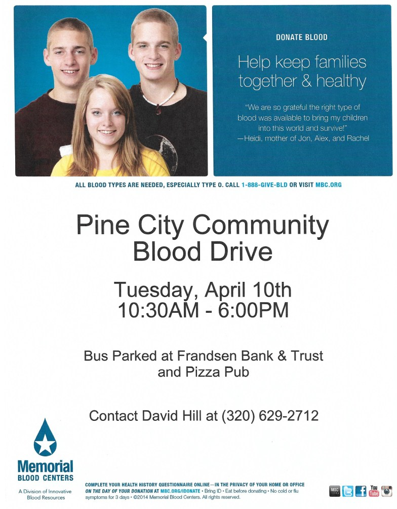 April 10th Blood Drive Flyer