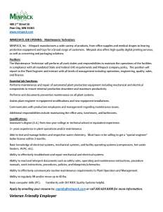 Job Description for Maintenance Technician at MINPACK