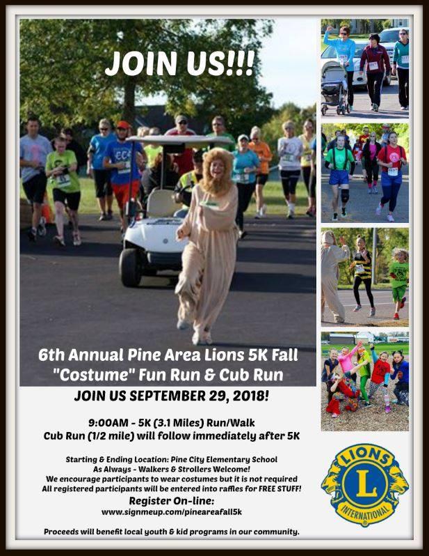 Pine Area Lions Costume 5K Fun Run Invite