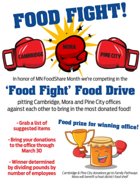 Food Fight! Flyer to promote the food shelf drive for MN Food Share month.