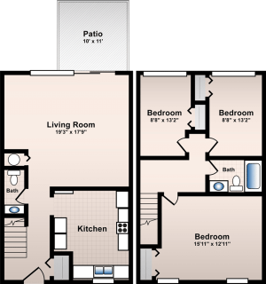 3 Bed / 1½ Bath / 1,160 sq ft / Deposit: $300 / Rent: $725