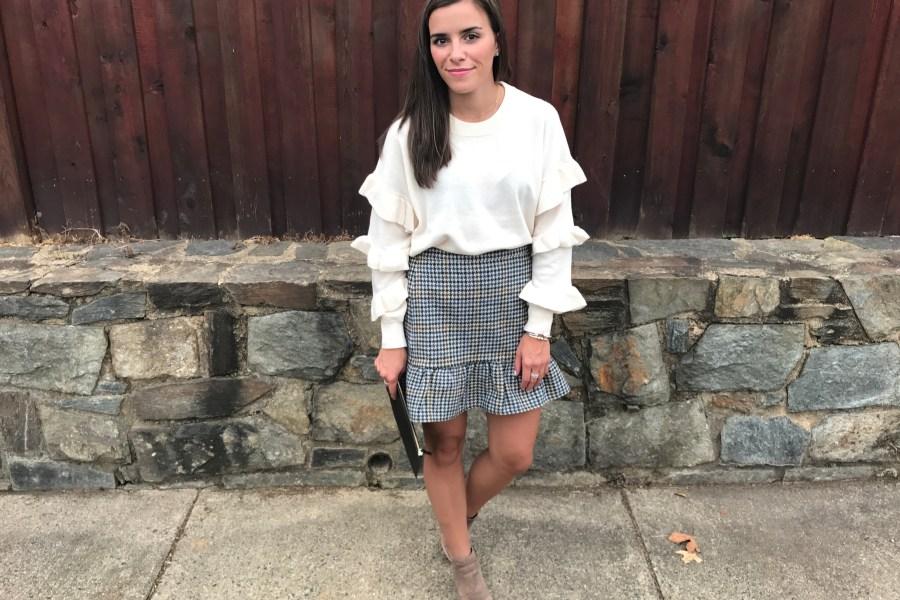 ruffle sleeves, skirt, jcrew