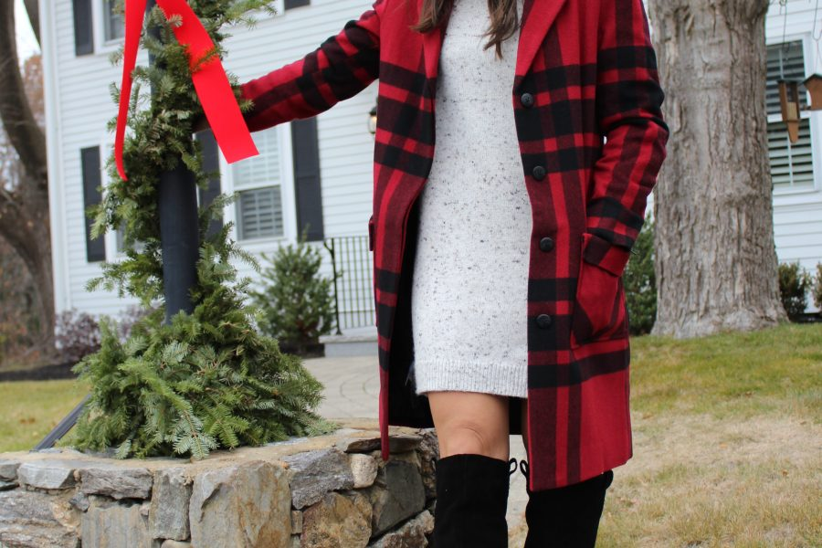 coat, plaid coat, sweater dress