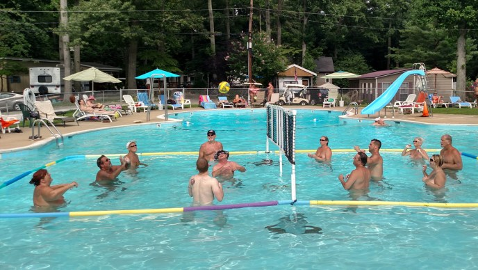 Pine Tree water volleyball during the summer.
