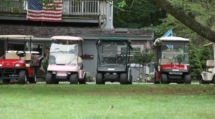 Club overview: Golf carts are a common mode of transportation at the club.