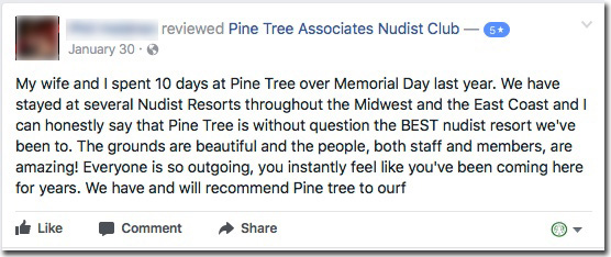 Reviews: Pine Tree Associates Nudist Club - Facebook review #3