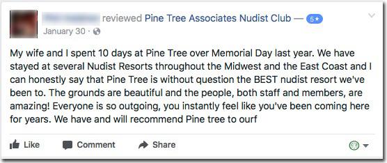 Reviews: Pine Tree Associates Nudist Club - Facebook review #3