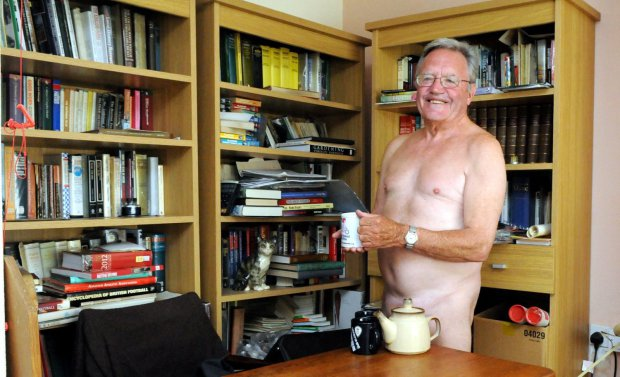 Why this nudist keeps his socks on.