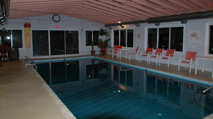 The indoor pool at Pine Tree Associates Nudist Club.