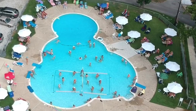 Pine Tree Associates outdoor pool from above